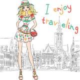 Vector la bella ragazza di modo in vestito e cappello Royalty Illustrazione gratis