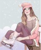 Vector la bella ragazza in un pattino alla moda del vestito rosa nell'ambito delle precipitazioni nevose illustrazione vettoriale