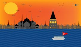 Vector la bella vista dell'argine Costantinopoli del tacchino nel mosq blu illustrazione vettoriale