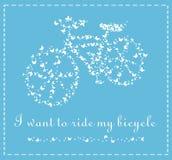 Vector la bicicleta de mariposas en un fondo azul libre illustration