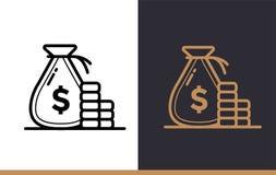 Vector la BORSA dei SOLDI lineare delle icone di finanza, contante Alta qualità Immagine Stock