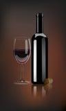 Vector la botella de vino rojo realista con la copa de vino y el corcho en fondo oscuro stock de ilustración