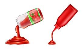 Vector la botella plástica, tarro de cristal de salsa de tomate en el estilo realista 3d Condimento del tomate, salsa líquida stock de ilustración