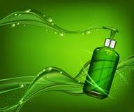 Vector la botella realista, verde, transparente 3d con la bomba o del jabón stock de ilustración