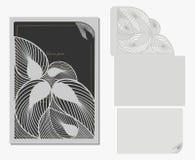 Vector la busta e la cartolina decorative per il taglio del laser Progettazione della siluetta Fotografia Stock