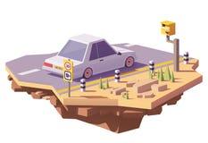 Vector la cámara polivinílica baja de la velocidad y un coche libre illustration