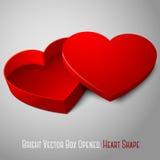 Vector la caja abierta rojo en blanco realista de la forma del corazón Fotos de archivo
