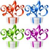 Vector la caja de regalo y las cintas 2015 del Año Nuevo Imagen de archivo libre de regalías