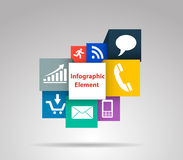 Vector la caja del cubo para los conceptos del negocio con los iconos Fotografía de archivo libre de regalías