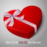 Vector la caja roja brillante en blanco realista de la forma del corazón Imágenes de archivo libres de regalías