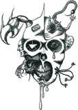 Vector la cara del demonio del tatuaje Imagen de archivo