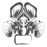 Vector la careta antigás del estilo del steampunk de la pintada del respirador en el fondo blanco Imagen de archivo libre de regalías