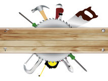 Vector la carpintería, collage de las herramientas con el te de madera del tablón ilustración del vector