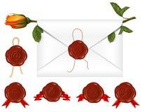 Vector. La carta con el sello de la cera y se levantó. Conjunto de diff Fotografía de archivo