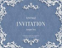 Vector la carta d'annata grigia dell'invito 3d con il modello floreale del damasco Fotografia Stock
