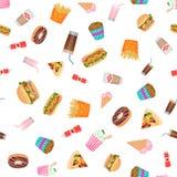 Vector la carta da parati senza cuciture piana del modello degli alimenti a rapida preparazione di progettazione Fotografia Stock Libera da Diritti