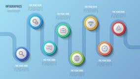 Vector la carta de la cronología de 8 pasos, diseño infographic, presentación Imagen de archivo