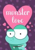 Vector la carta del giorno di biglietti di S. Valentino con cuore, il mostro sveglio e l'iscrizione sul fondo dei cerchi Fotografie Stock