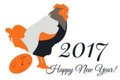 Vector la carta del nuovo anno con un gallo e un orologio nei toni arancio Fotografia Stock