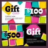 Vector la carta di regalo o il buono, macchie astratte dei quadrati dell'acquerello Fotografia Stock