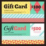 Vector la carta di regalo o il modello del buono con il modello geometrico Immagine Stock Libera da Diritti