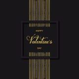 Vector la carta ed il fondo neri di festa con il giorno felice del ` s del biglietto di S. Valentino di parole disegnate a mano e Fotografie Stock