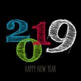 Vector la carta minimalistic moderna del buon anno per 2019 con i grandi numeri principali - versione scura royalty illustrazione gratis