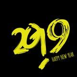 Vector la carta minimalistic moderna del buon anno per 2019 con i grandi numeri principali - versione scura con le lettere gialle immagini stock