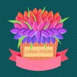 Vector la cartolina d'auguri con il posto per testo con il canestro dei fiori e del lorem ipsum del testo Fotografia Stock Libera da Diritti