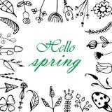 Vector la cartolina d'auguri con la struttura floreale, ` ciao, ` della primavera Immagine Stock Libera da Diritti