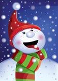 Vector la cartolina d'auguri con un pupazzo di neve che porta un cappello e una sciarpa Immagini Stock