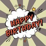 Vector la cartolina d'auguri di buon compleanno nello stile del libro di fumetti Fotografia Stock