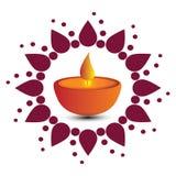 Vector la cartolina d'auguri o dell'illustrazione del festival di Diwali con la bei lampada a olio ed elementi alla moda di Diwal illustrazione di stock