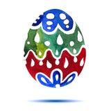 Vector la cartolina d'auguri Pasqua felice, uovo di Pasqua colourful dell'acquerello con ombra Fotografia Stock Libera da Diritti