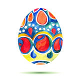 Vector la cartolina d'auguri Pasqua felice, uovo di Pasqua colourful dell'acquerello con ombra Fotografie Stock Libere da Diritti