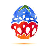 Vector la cartolina d'auguri Pasqua felice, uovo di Pasqua colourful dell'acquerello con ombra Immagini Stock