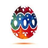 Vector la cartolina d'auguri Pasqua felice, uovo di Pasqua colourful dell'acquerello con ombra Fotografia Stock