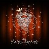 Vector la cartolina di Natale con i fiocchi di neve, gli alberi, stelle Fotografia Stock Libera da Diritti