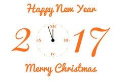 Vector la cartolina di Natale con l'orologio nei toni arancio Immagini Stock