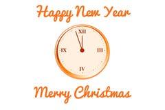 Vector la cartolina di Natale con l'orologio nei toni arancio Immagine Stock