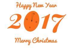 Vector la cartolina di Natale con l'orologio nei toni arancio Fotografia Stock Libera da Diritti