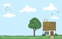 Vector la casa del fumetto di scarabocchio con l'albero ed il chiaro cielo nel colore pastello illustrazione di stock