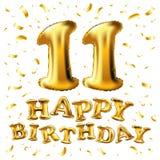 Vector la 11a celebración con confeti de los globos del oro, brillos del cumpleaños diseño para su tarjeta de felicitación, cumpl Foto de archivo