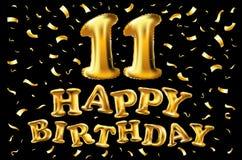 Vector la 11a celebración con confeti de los globos del oro, brillos del cumpleaños diseño para su tarjeta de felicitación, cumpl Foto de archivo libre de regalías