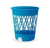 Vector la cesta azul plástica, cubos de la basura en blanco Foto de archivo libre de regalías