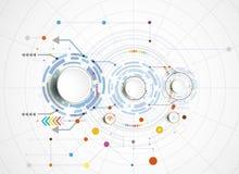 Vector la Ciao-tecnologia dell'illustrazione digitale e la tecnologia delle Telecomunicazioni di ingegneria Fotografia Stock