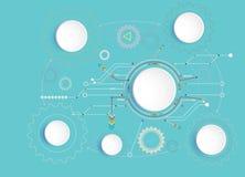 Vector la Ciao-tecnologia dell'illustrazione digitale ed il concetto della tecnologia delle Telecomunicazioni di ingegneria Immagine Stock Libera da Diritti