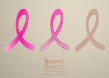 Vector la cinta del rosa de la conciencia del cáncer de pecho en el fondo blanco Fotografía de archivo