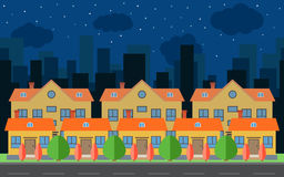 Vector la città di notte con le case e le costruzioni del fumetto Spazio della città con la strada sul concetto piano del fondo d Immagini Stock