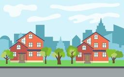 Vector la ciudad con dos casas de dos pisos de la historieta y árboles verdes en el día soleado libre illustration
